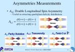 asymmetries measurements