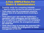 a few simple rules for chairs administrators