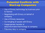 potential conflicts with start up companies