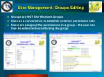 user management groups editing