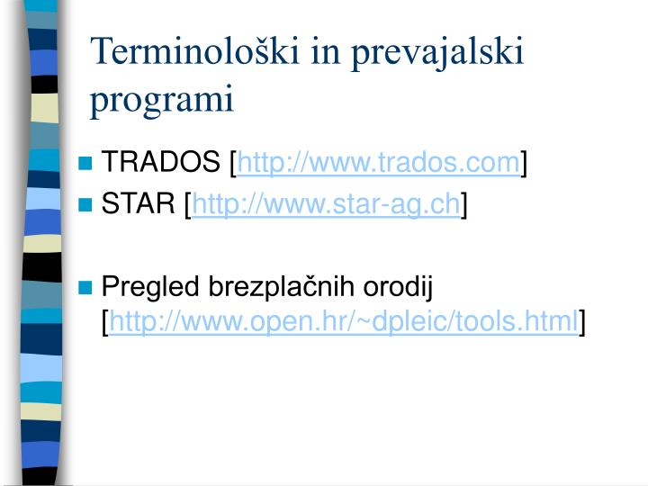 Terminološki in prevajalski programi