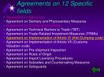 agreements on 12 specific fields