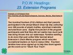 p o w headings 23 extension programs4