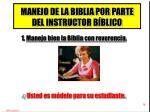 manejo de la biblia por parte del instructor b blico