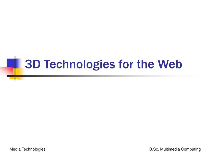 3d technologies for the web n.