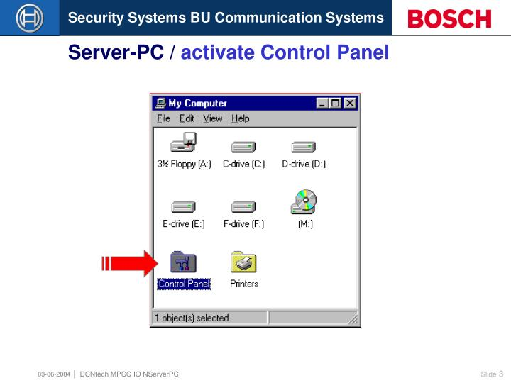Server pc activate control panel