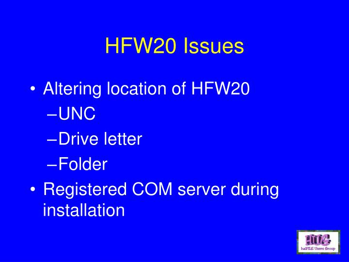 HFW20 Issues