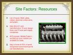 site factors resources
