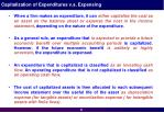 capitalization of expenditures v s expensing