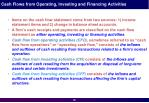 cash flows from operating investing and financing activities