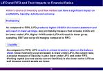 lifo and fifo and their impacts to financial ratios