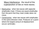 wave interference the result of the superposition of two or more waves