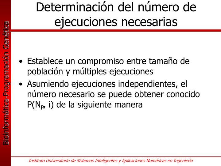 Determinación del número de ejecuciones necesarias