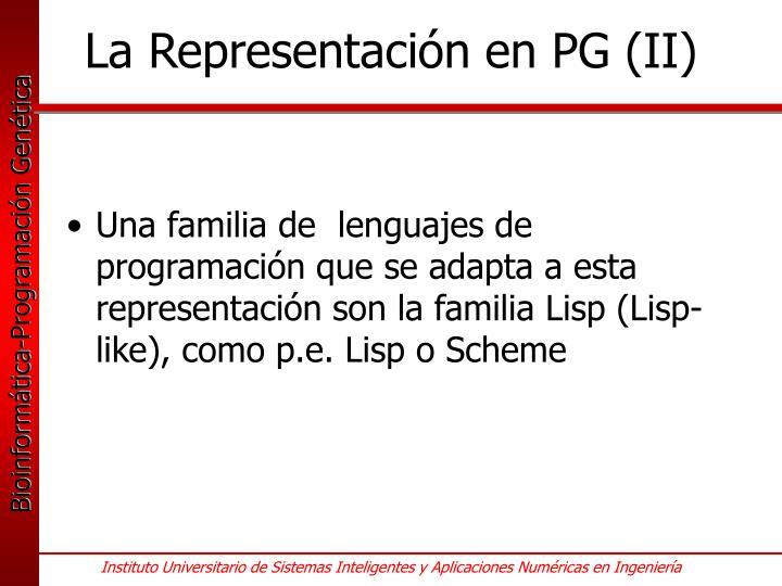 La Representación en PG (II)