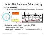 limits 1998 antennae cable heating