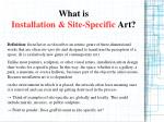 what is installation site specific art
