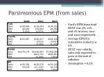 parsimonious epm from sales