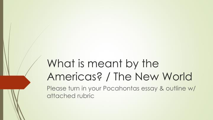what is meant by the americas the new world n.