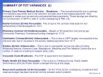 summary of fot variances 2