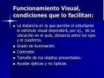 funcionamiento visual condiciones que lo facilitan