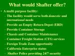 what would shafter offer