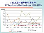 hiv prevalence in high risk group 2000 20091
