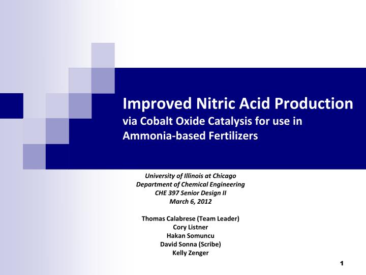 improved nitric acid production via cobalt oxide catalysis for use in ammonia based fertilizers n.