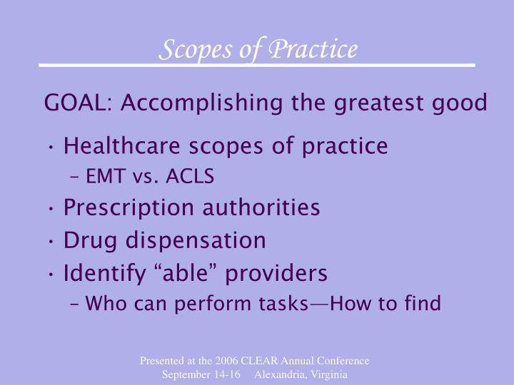 Scopes of Practice