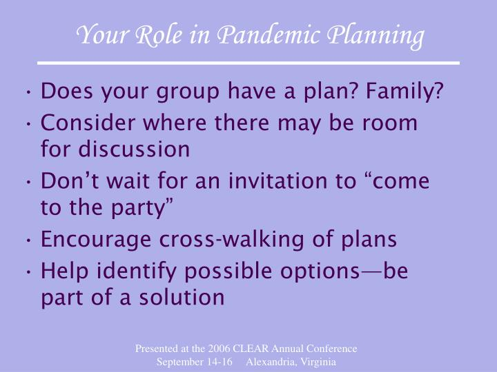 Your Role in Pandemic Planning