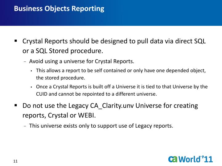 Business Objects Reporting