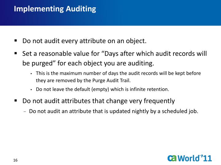 Implementing Auditing