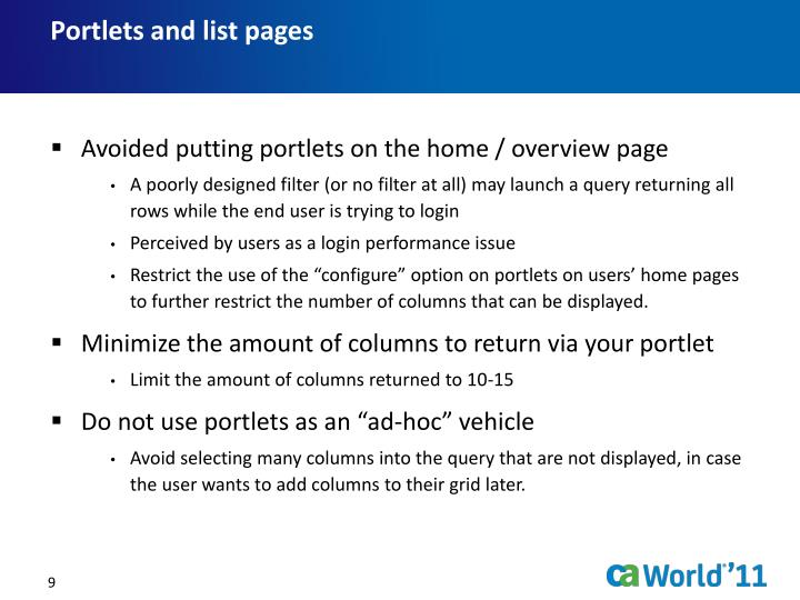 Portlets and list pages