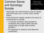 common sense and sociology suicide1