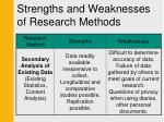 strengths and weaknesses of research methods2
