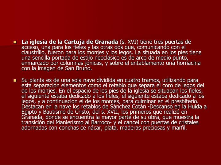 La iglesia de la Cartuja de Granada