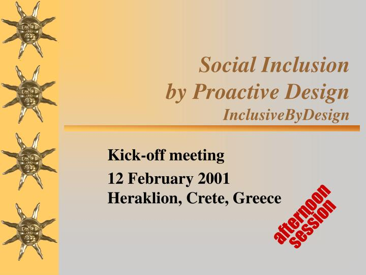 social inclusion by proactive design inclusivebydesign n.