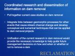 coordinated research and dissemination of information on dam removal