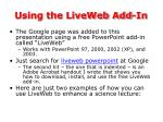 using the liveweb add in