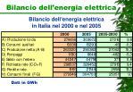 bilancio dell energia elettrica