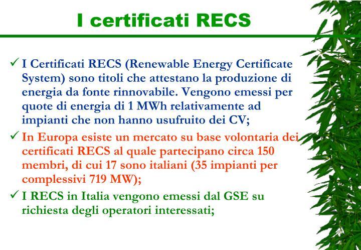 I certificati RECS