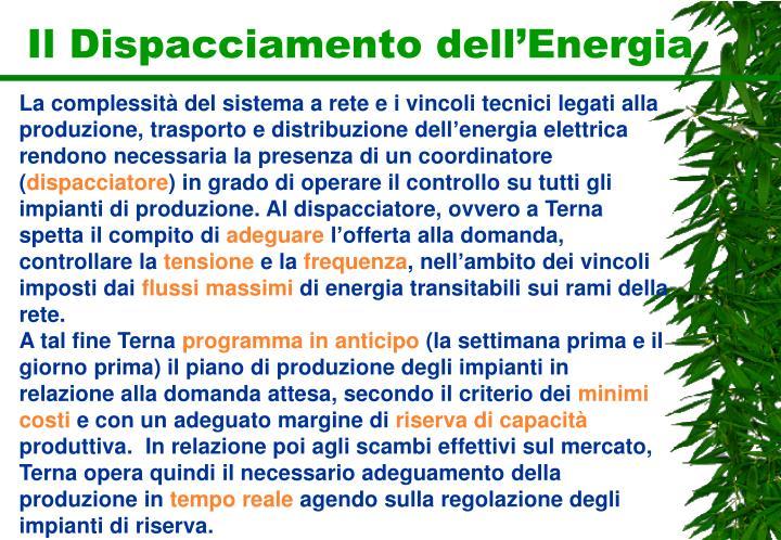 Il Dispacciamento dell'Energia