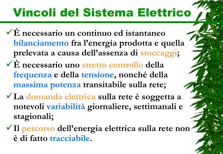 Vincoli del Sistema Elettrico