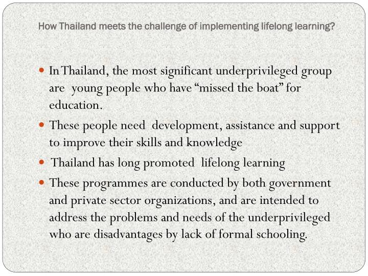 How Thailand meets the challenge of implementing lifelong learning?