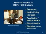 minors available to mepn ms students