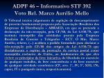 adpf 46 informativo stf 392 voto rel marco aur lio mello