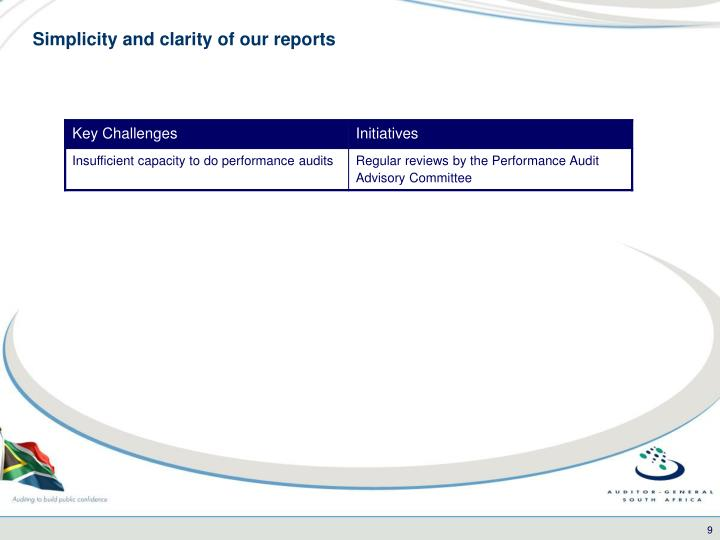 Simplicity and clarity of our reports