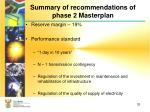 summary of recommendations of phase 2 masterplan