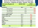 raz n de mortalidad materna bruta con ajustes por provincias y regiones de salud panam a o 2010