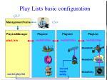 play lists basic configuration