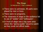 the stage in shakespeare s time continued